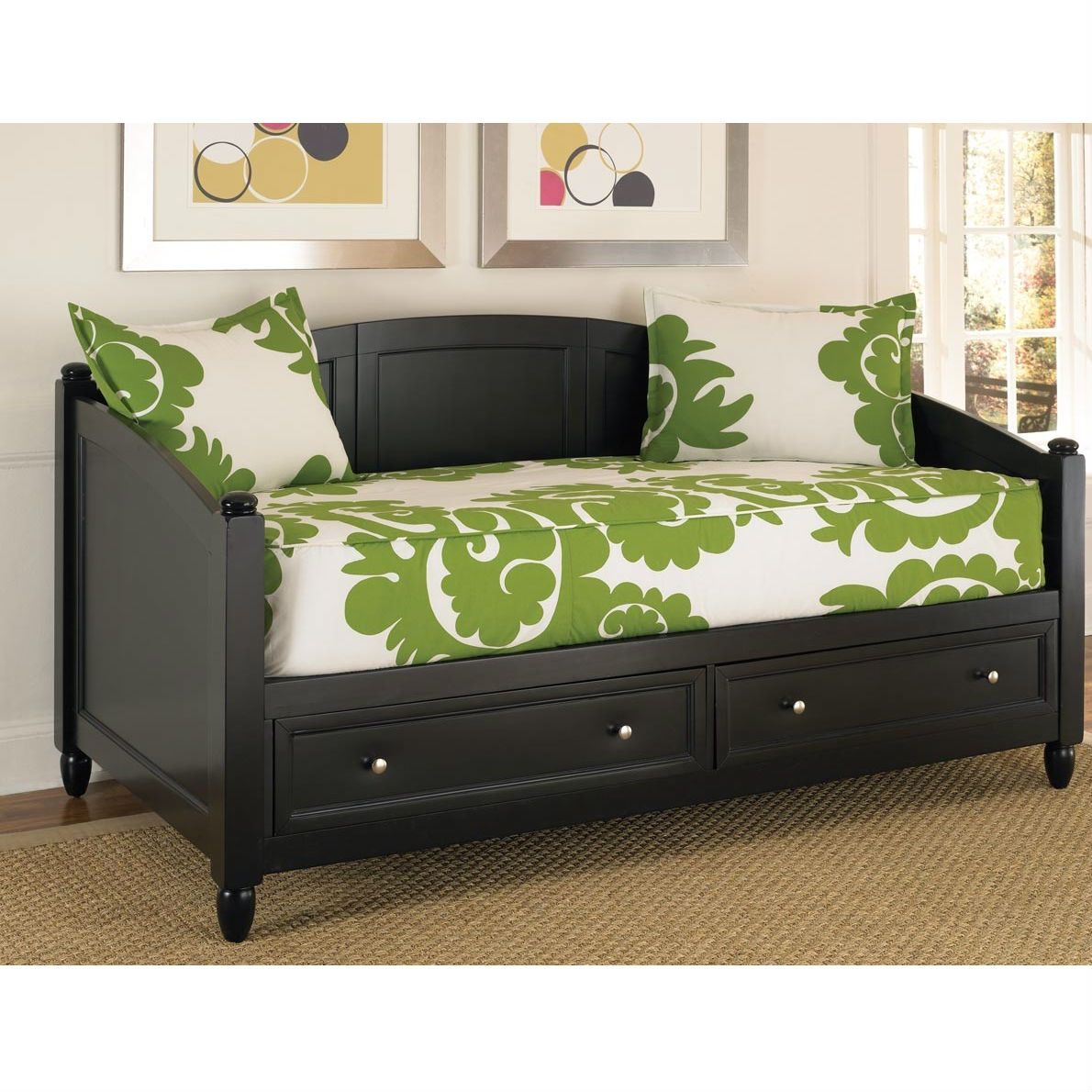 Twin Black Wood Contemporary Daybed with Storage Drawers