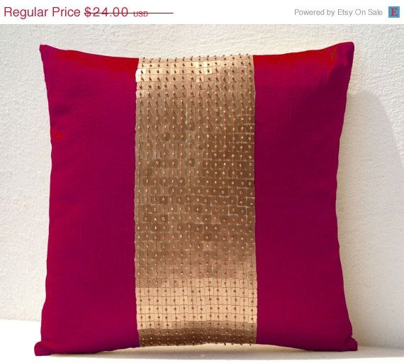 10 OFF Throw Pillows  Fuchsia gold color block in by AmoreBeaute