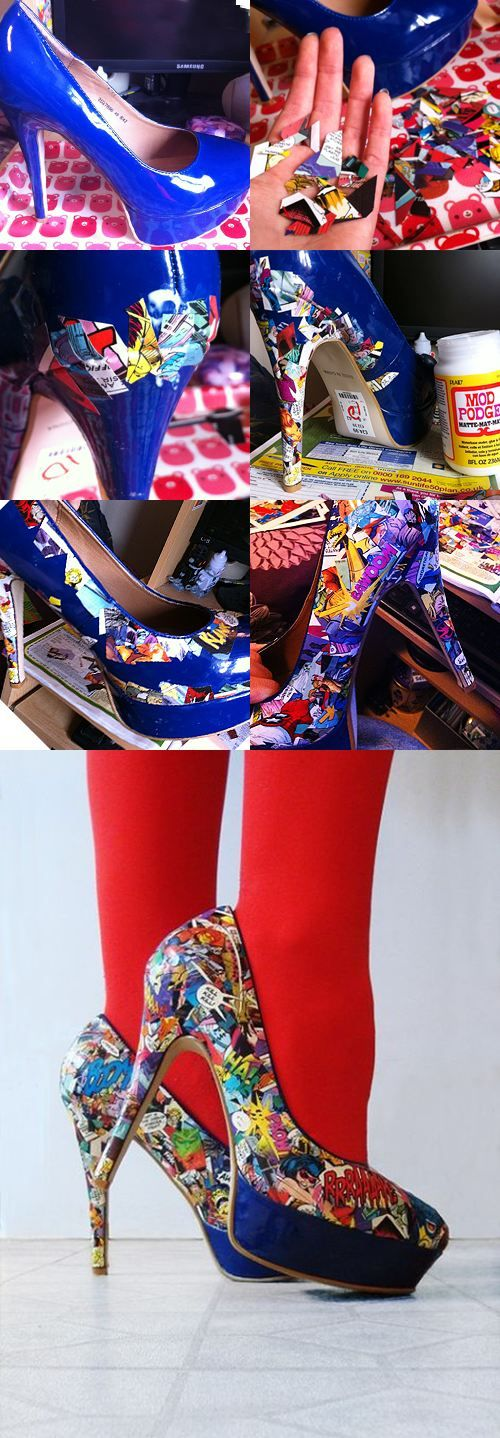 modge podge + collage of clippings = unique pair of cute shoes! Love it... But i wouldnt want to cut up a comic