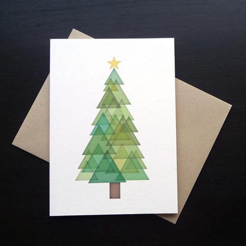 Contemporary Christmas tree design for seasons greetings card ...