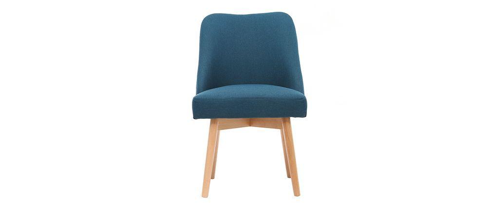 chaise scandinave tissu bleu canard pieds bois clair liv - Chaises Scandinaves Bleu