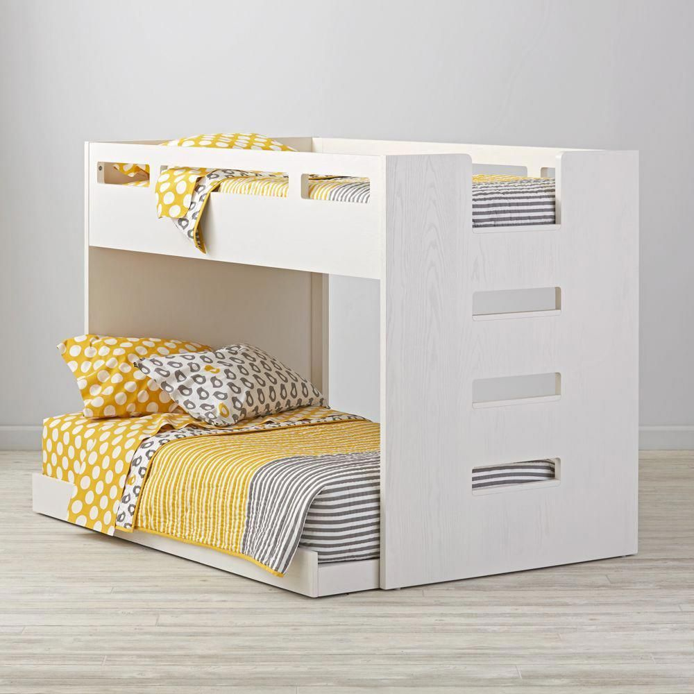 Loft bed with slide kmart  Abridged White Glaze Low Twin Bunk Bed bunkbedwithstairs  Bunk Bed