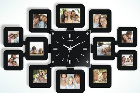 Wall Clock With 12 Photo Frames Price Review And Buy In Uae Dubai Abu Dhabi Frame Wall Decor Wall Clock Design Wall Decor Bedroom College