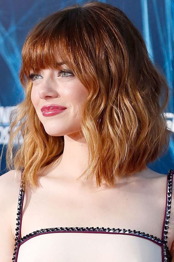 LOB avec frange et coloration cuivré | Strawberry blonde hair color, Strawberry blonde hair