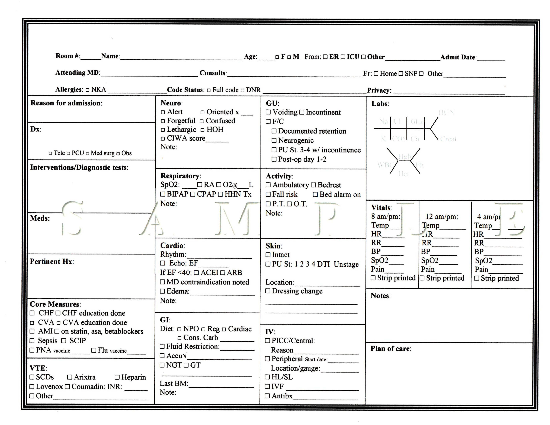 Nurse S Report Sheet