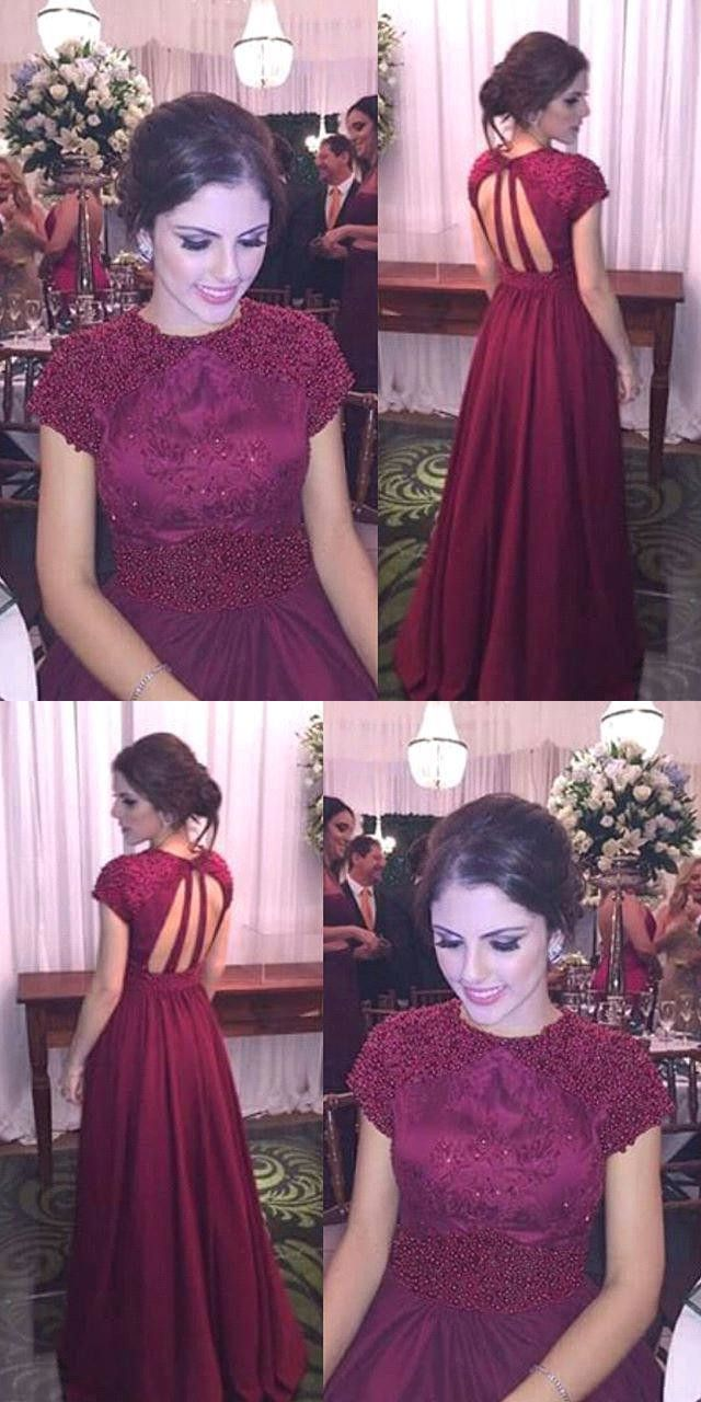 Modest burgundy prom dress sexy beading aline prom dress short