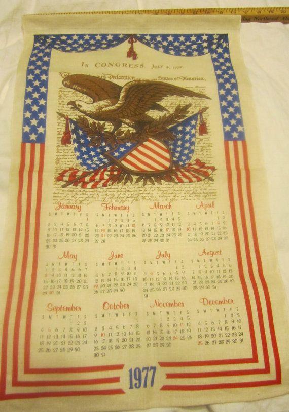 1977 Calendar Tea Towel Vintage Linen Tea By Luluslovelylinens