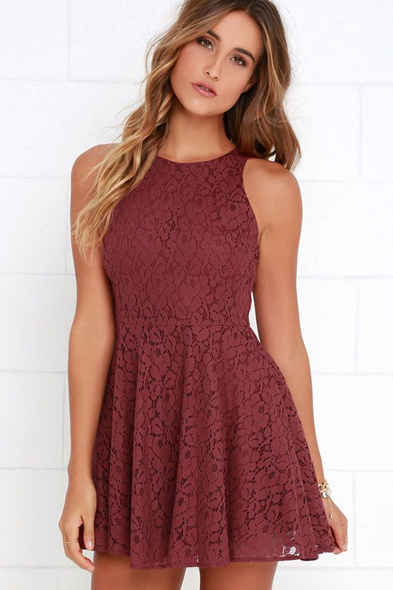 Lucy Love Hollie Jean Maroon Lace Skater Dress   Fit flare dress ...