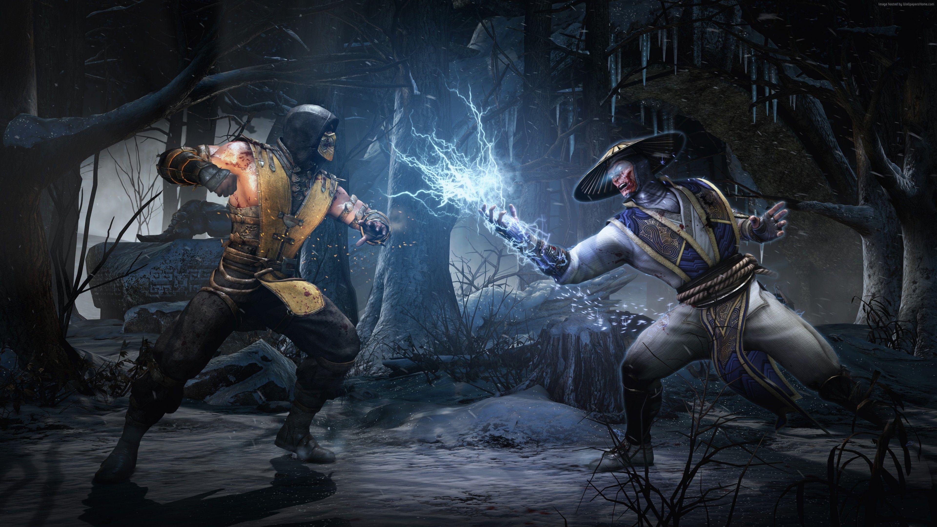 Mortal Kombat X Game Fighting Scorpion Raiden Lighting