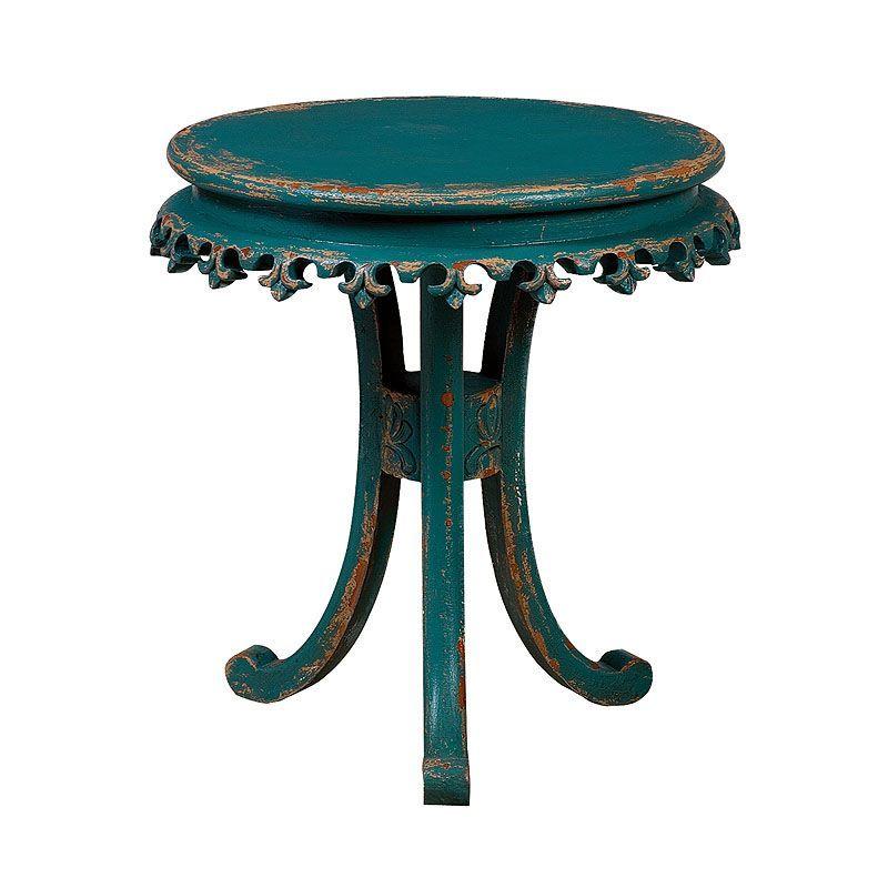GuildMaster 717527 Fleur-De-Lis 27 Inch Diameter Wood Accent Table Teal Furniture Tables Accent Tables