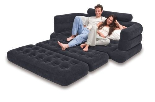Pull Out Inflatable Queen Air Sofa Bed Mattress Sleeper Camping Folding Lounge Intex