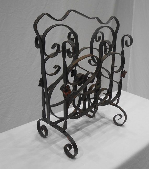 Nice Heavy Sturdy Wrought Iron Magazine Holder Has 3 Decorative Metal Star On Each Side One Front Section Needs To Be Spot
