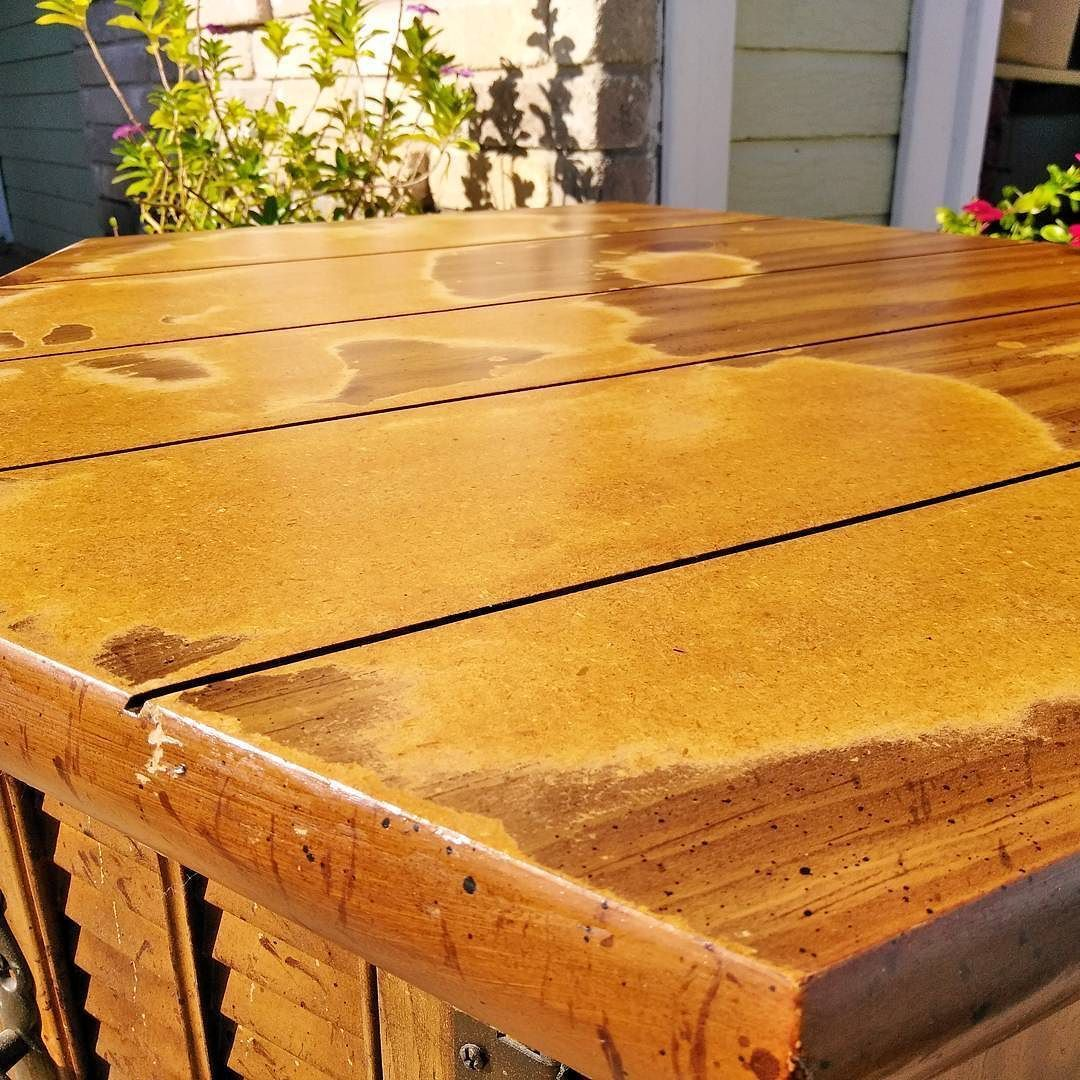How To Repair A Particle Board Table Top 1 Sand The Bubbles Down With Medium Grit Sandpape Painted Kitchen Tables Sanding Furniture Chalk Paint Kitchen Table