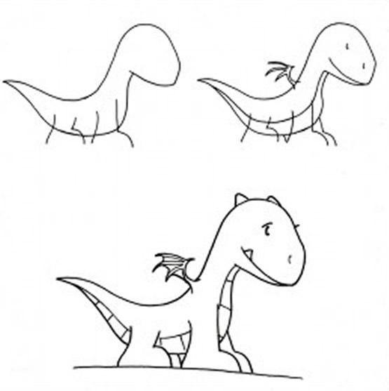 Dibujo para colorear Como Dibujar pequeño Dragón (comic ...
