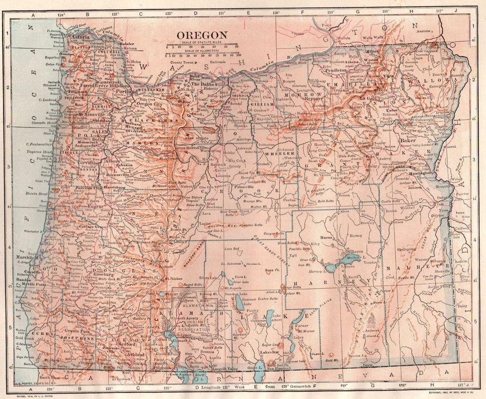1914 Vintage Oregon Map Of Oregon State Map Gallery Wall Art 3990