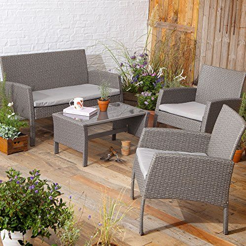 NEW Tesco San Marino 4 Piece Rattan Garden Lounge Set Table Bench ...