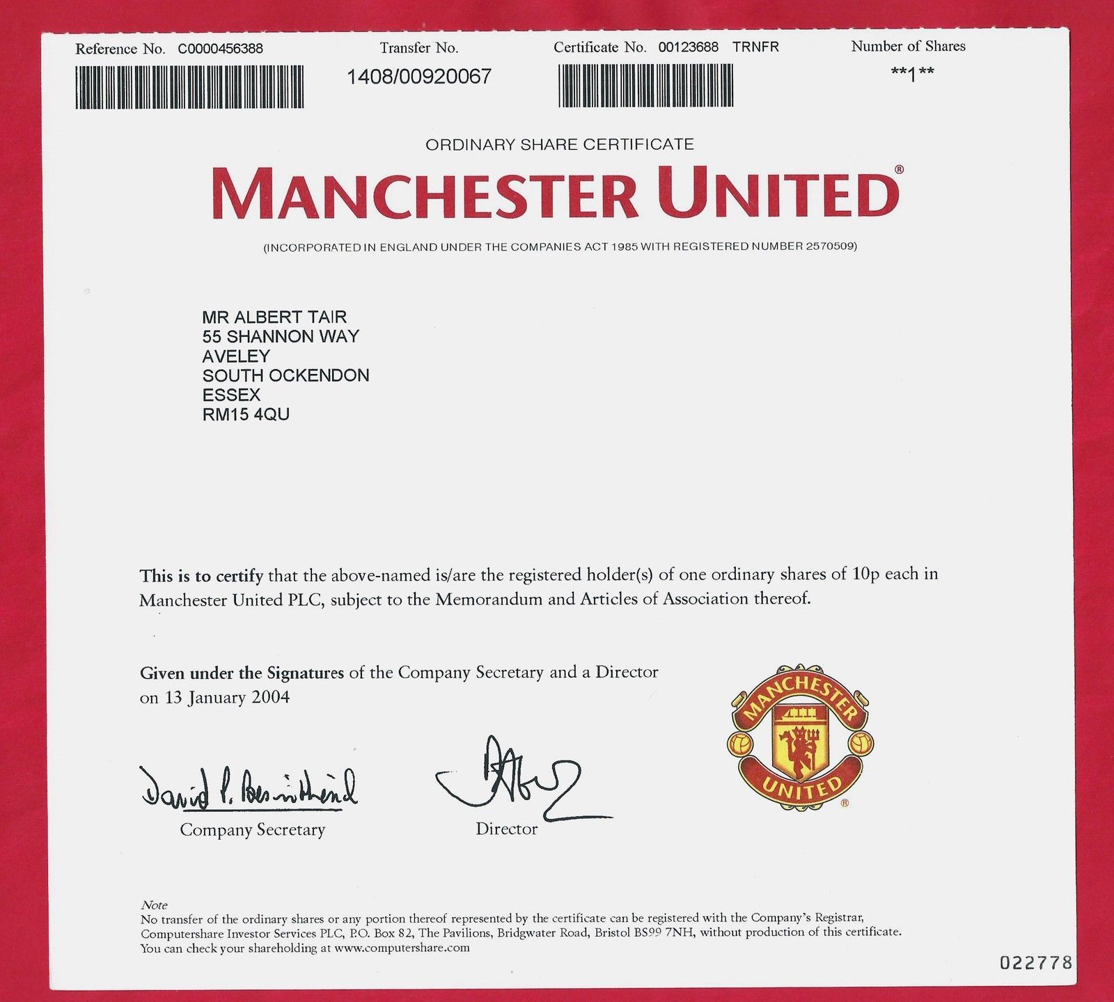 Manchester United Ordinary Share Certificate 2004 Quelle Ebay The Unit Manchester United Stock Certificates