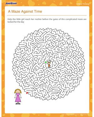 A Maze Against Time \u2013 2nd Grade Critical Thinking Worksheet