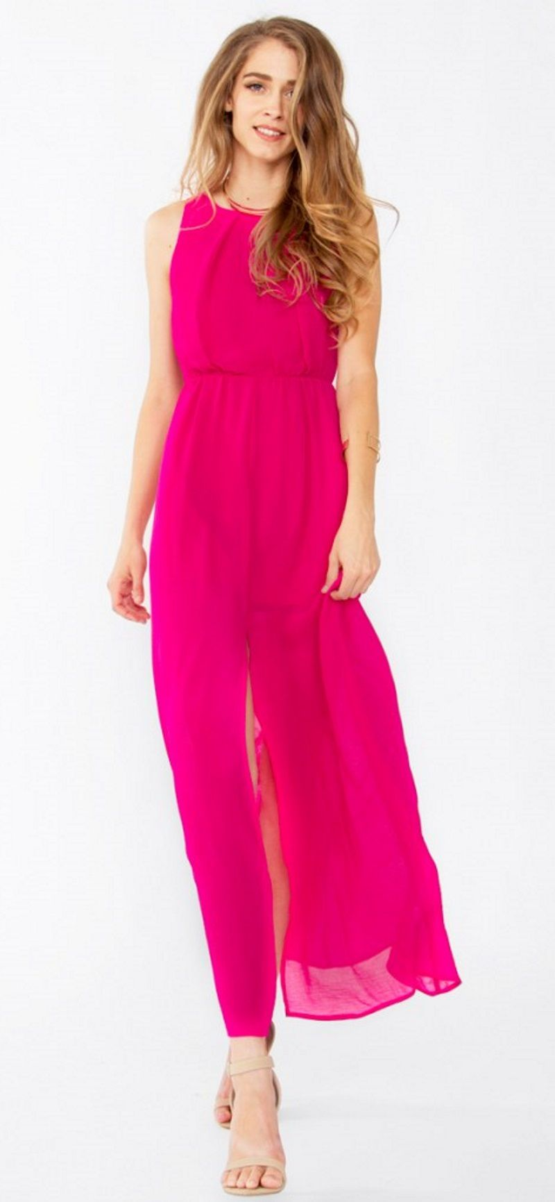 Hot pink maxi dress  Hot to Trot Dress Hot pink sleeveless maxi dress with a front slit