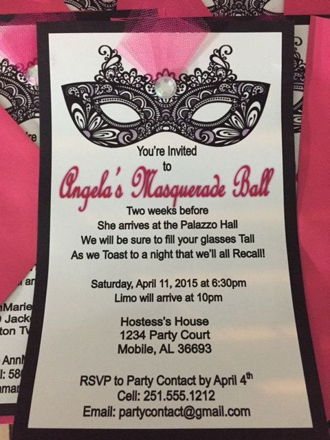 Handmade Masquerade Invitations by AccessorizeYourDay on ...