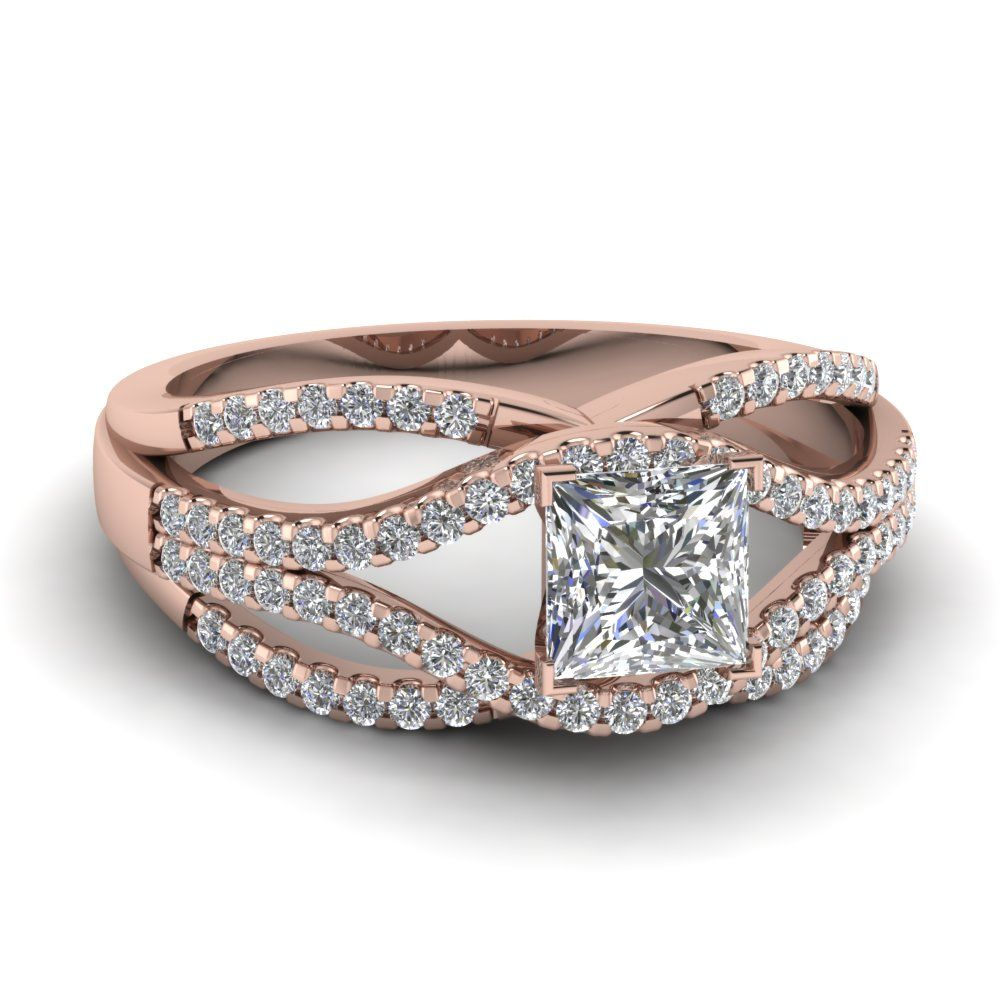 Shop crossover multi row princess cut diamond engagement ring in 14k rose gold at