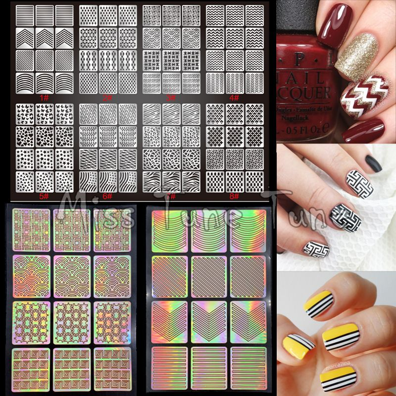 1pcs New Nail Art Stencils Stamping Stickers Multiple Use Vinyls ...
