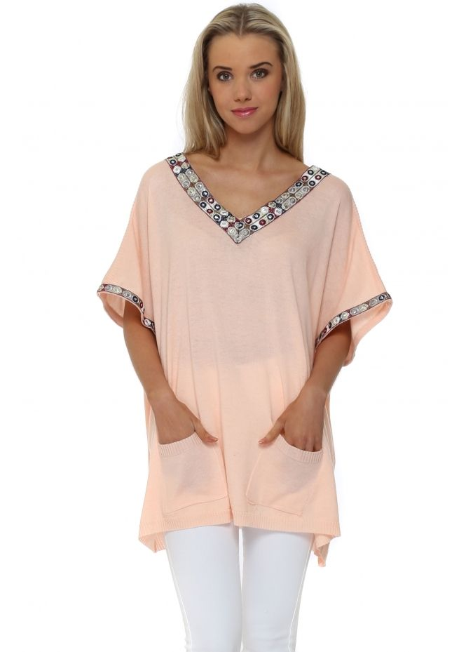 LAETITIA MEM Pink Embroidered Short Sleeve Jumper