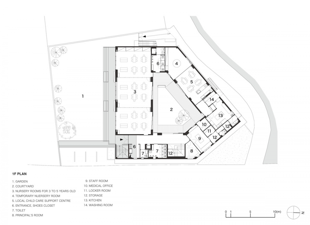 Gallery Of Hakemiya Nursery School Rhythmdesign Case Real 27 School Floor Plan Nursery School School Architecture