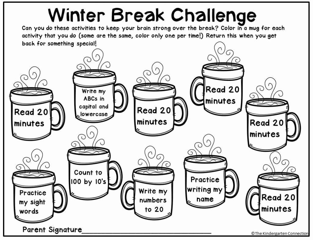 Kindergarten Math Worksheet Creator Holiday Homework Winter Break Winter Kindergarten [ 786 x 1024 Pixel ]