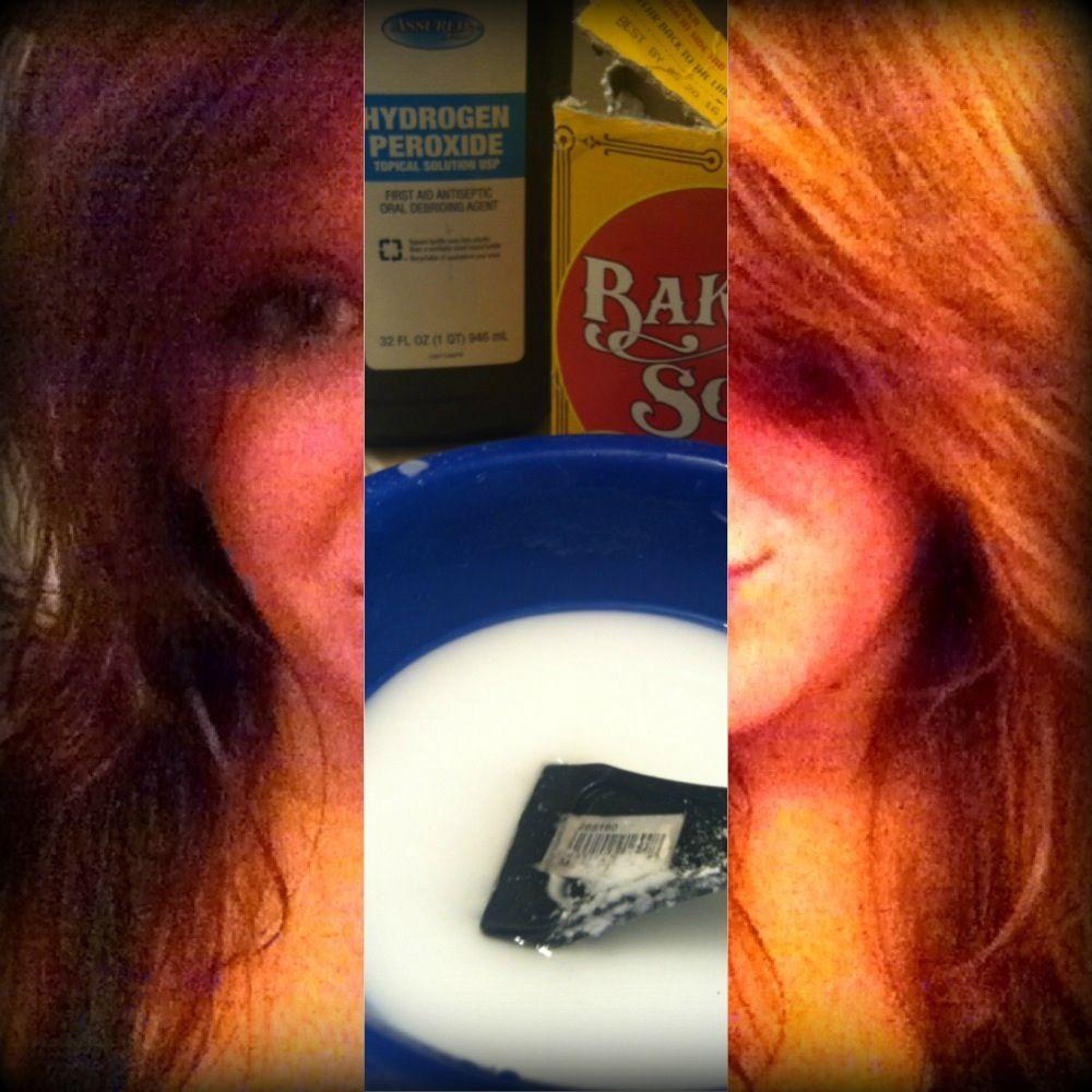 How I lightened my hair! 3 parts baking soda, 1 part hydrogen