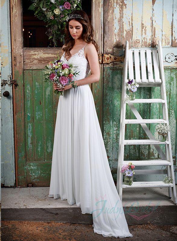 6f29a73cd8fd JW16130 Sexy spaghetti straps flowy chiffon boho wedding dress ...