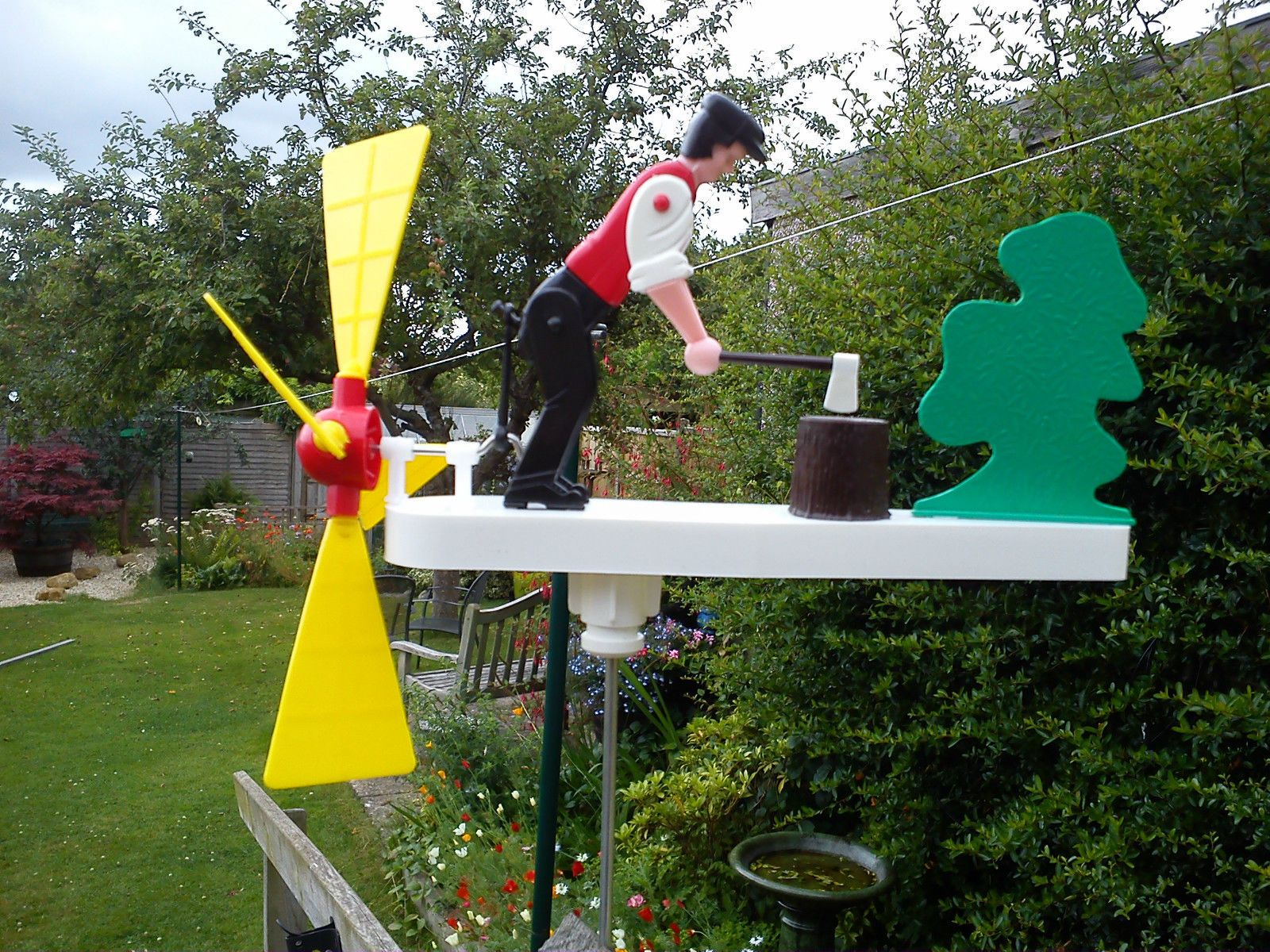 Retro Vintage Type Wood Chopping Whirligig Whirlygig