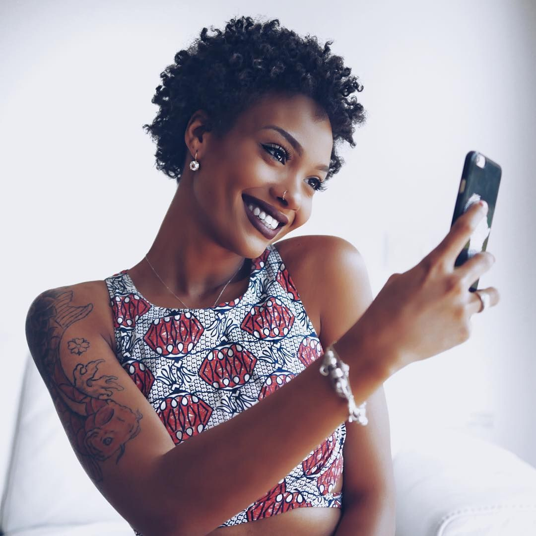 Natural hairstyles for short hair black women hair and tattoos - Short Natural Hair Afro Hair Kinky Hair Beauty Style Tattoos