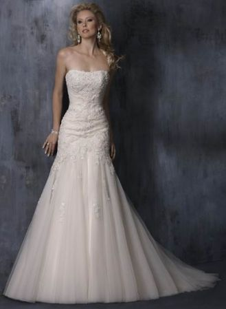 wedding dress, A-line, fitted thru hips, nice lace