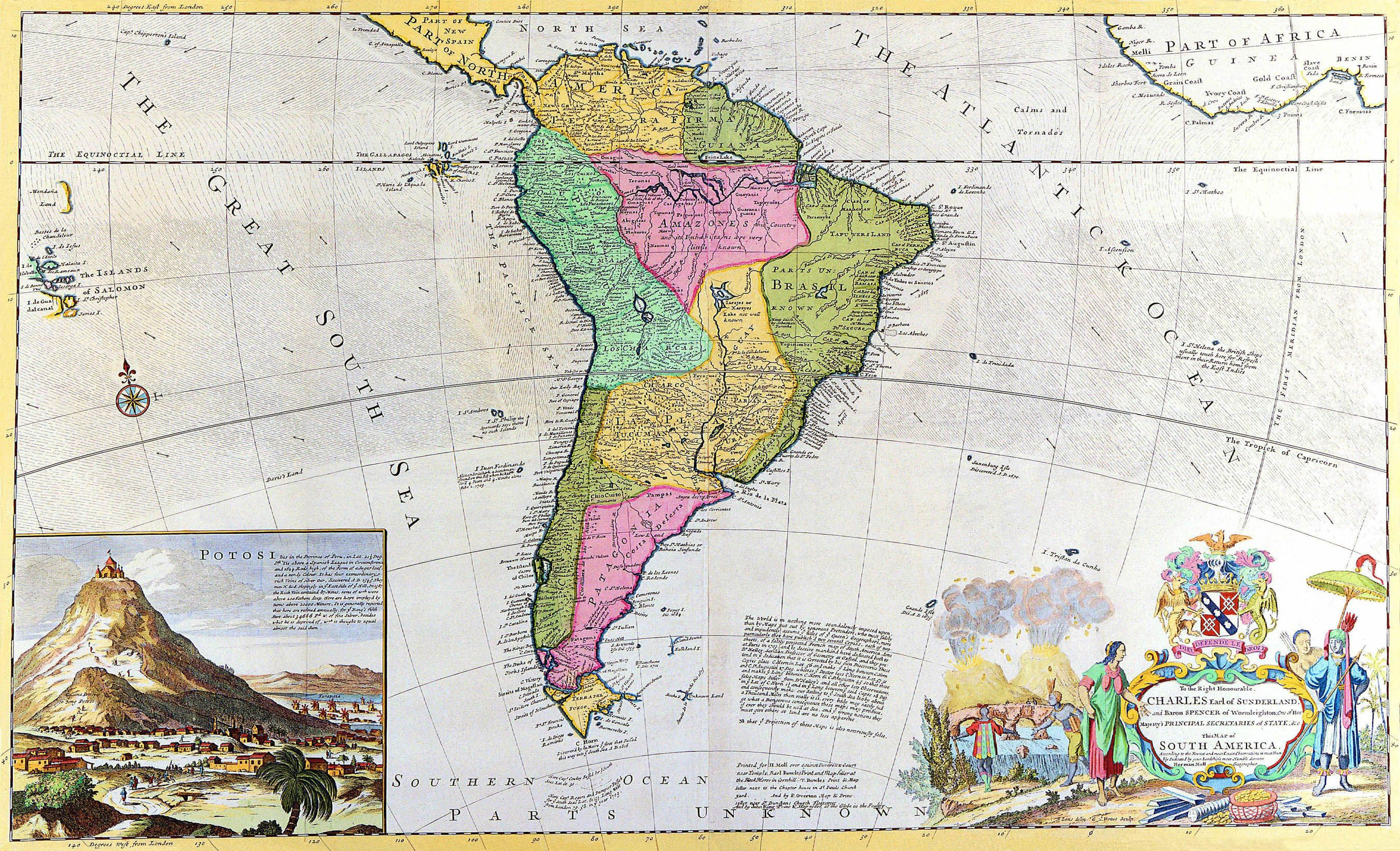 Map of South America for the Earl of Sunderland Charles