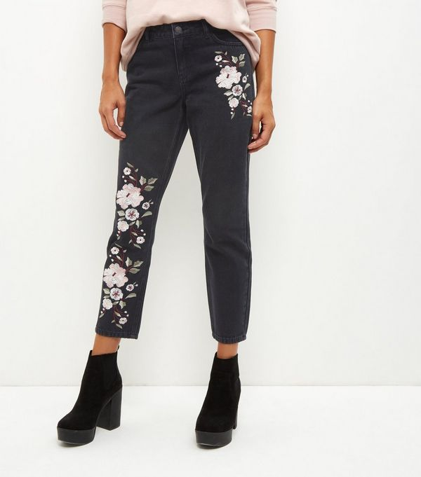Black Floral Embroidered Straight Leg Jeans