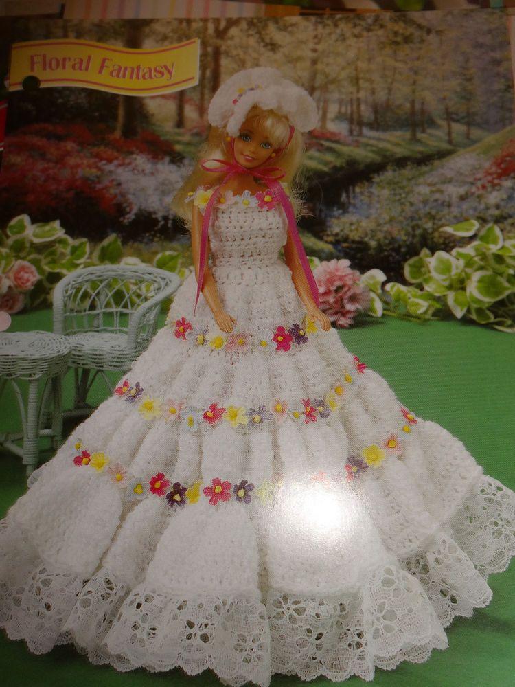 floral fantasy GOWN DRESS Annie\'s crochet pattern fit Barbie fashion ...
