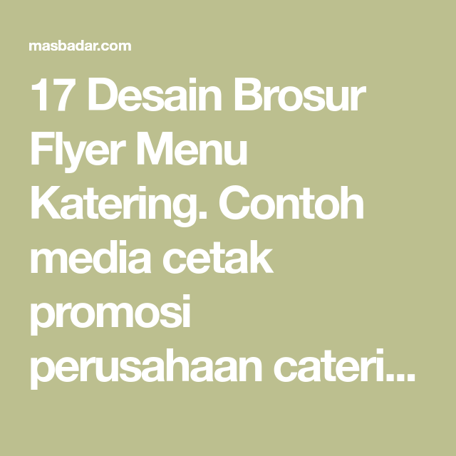 Brosur Flyer Menu Katering Premium Download Template Desain