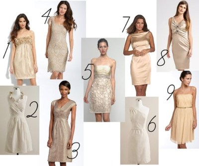 A Champagne Or Beige Colored Dress For Bridesmaid