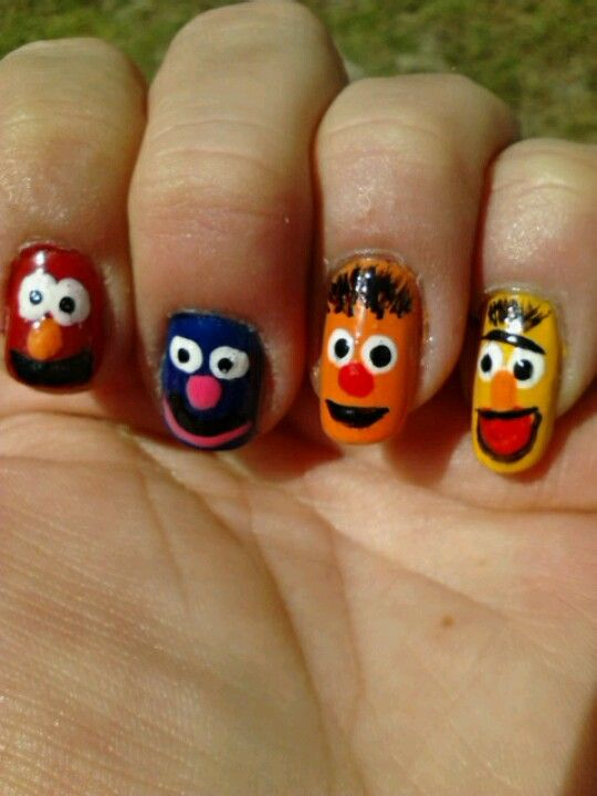 My Sesame Street Nails My Amateur Nail Art Pinterest Sesame