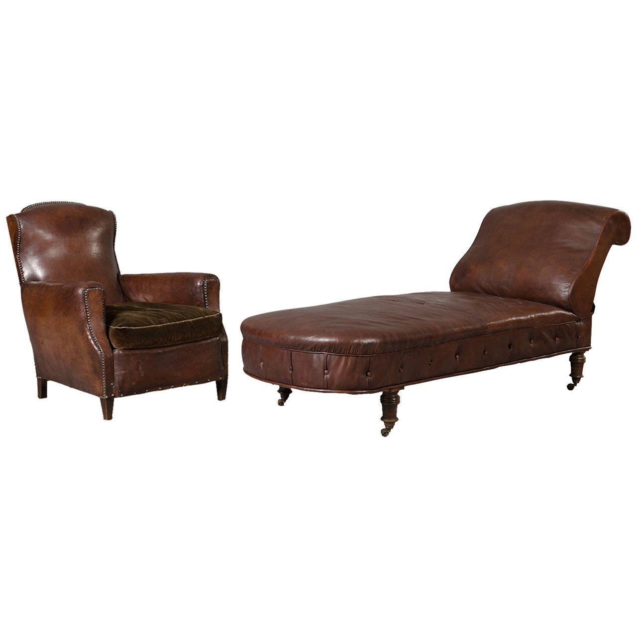 Amazing Leather Armchair And Sofa Set From 1930S Psychoanalyst Our Ncnpc Chair Design For Home Ncnpcorg