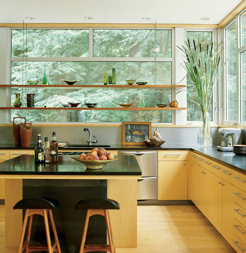 Really Like This Kitchen Open Shelving And Windows Modern