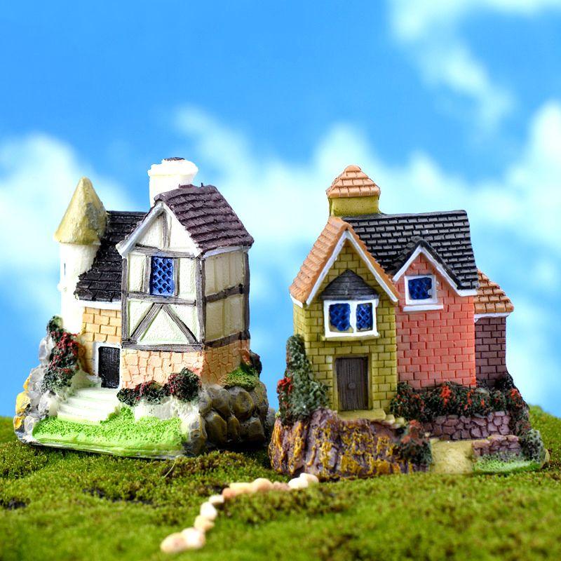 Miniature Shabby House Garden Fairy Resin Ornament Figurine Landscape DIY Decor