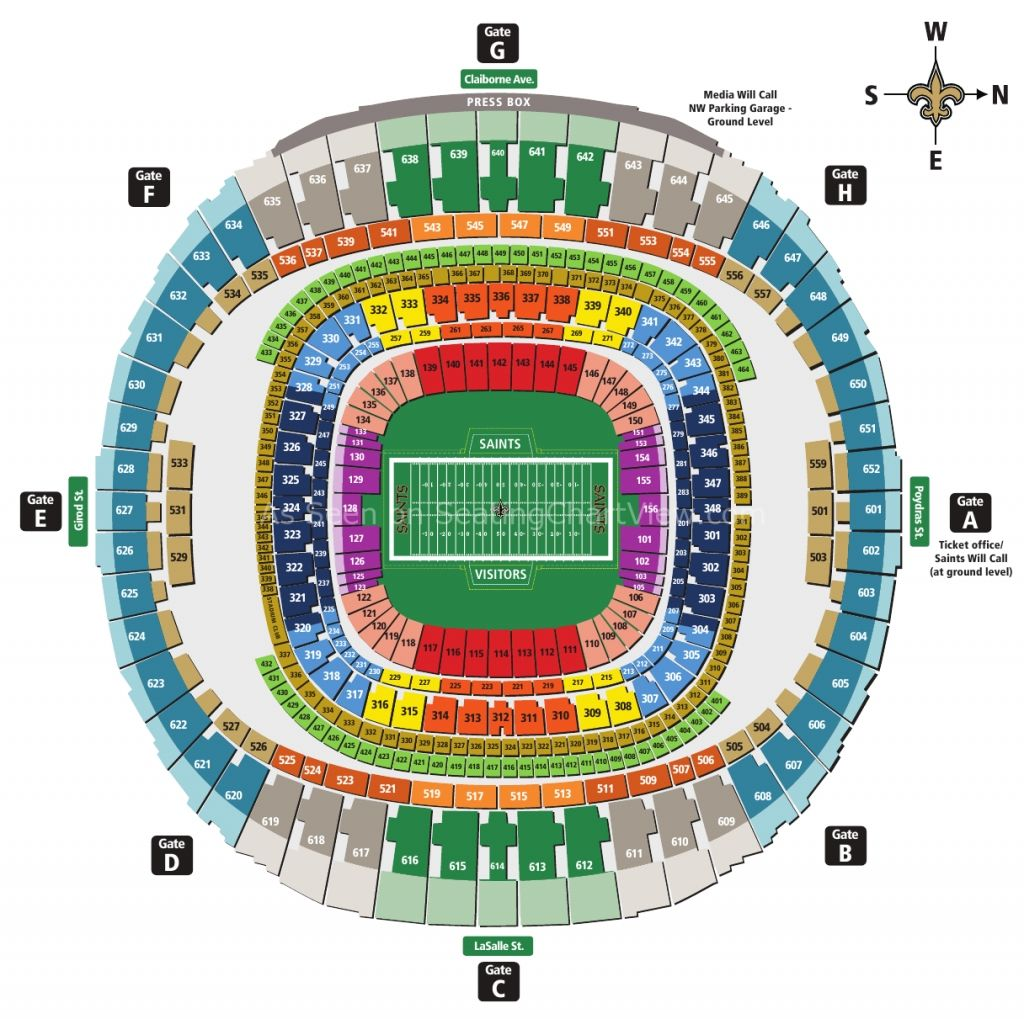 Saints Seating Chart New Orleans Saints Saints Vs New Orleans Superdome