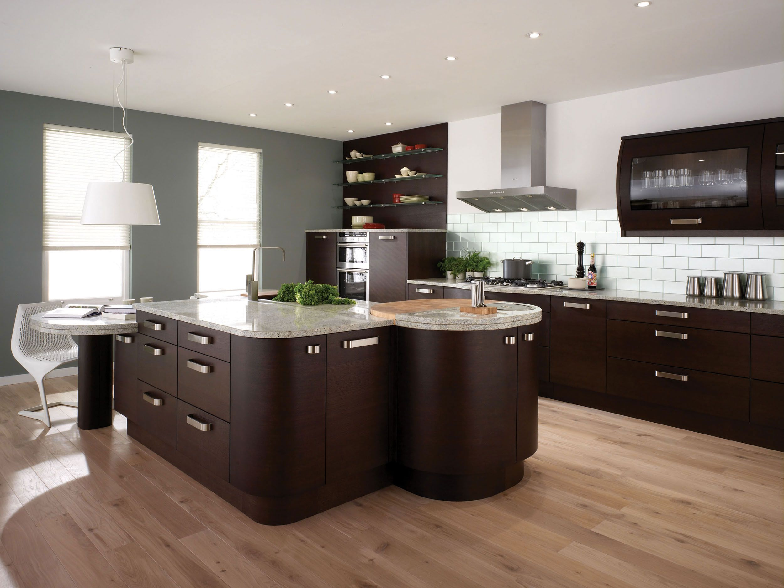 Great White Grey And Brown Kitchen With Brown Cabinet Big