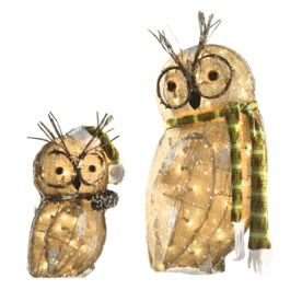 holiday living 2 piece 17 ft owl outdoor christmas decoration - Outdoor Owl Christmas Decorations