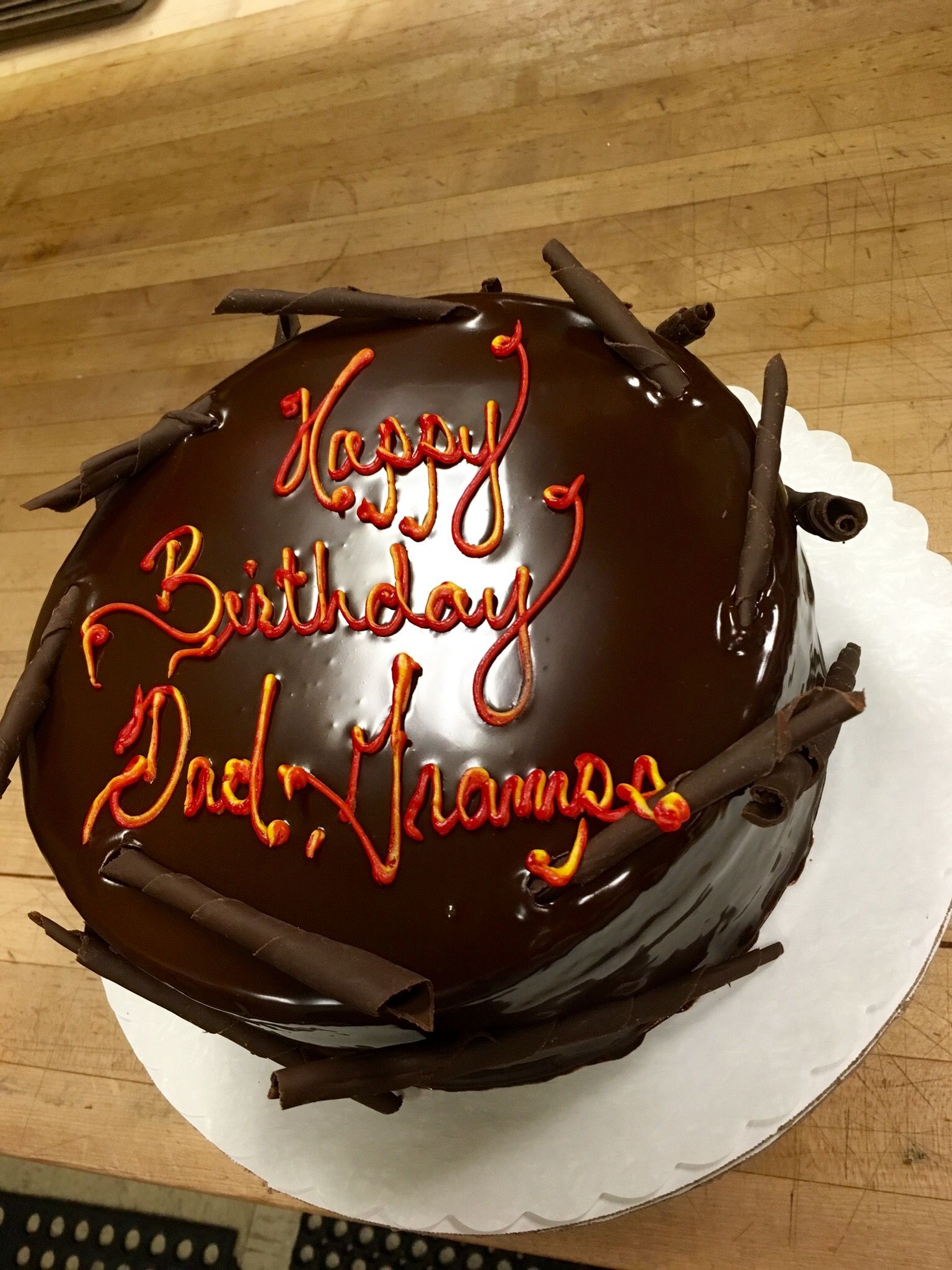 Chocolate Ganache Covered Birthday Cake With Chocolate Curls