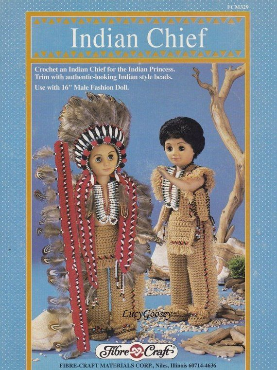 Indian Chief, Fibre Craft 16 in Male Doll Clothes Crochet Pattern Booklet FCM329 #indianbeddoll