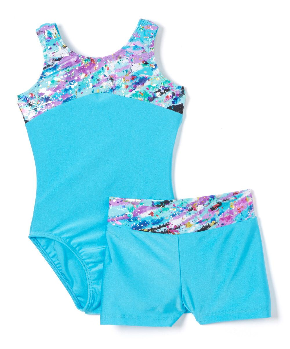 823d637a8 Look at this Reflectionz Turquoise Paint Splatter Leotard   Shorts ...