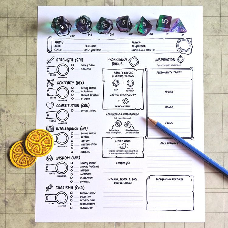 5th Edition New Player Character Sheets Games Stuff By Julien Dnd Character Sheet Character Sheet Rpg Character Sheet